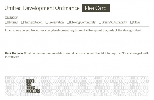 """Residents completed 124 of these """"Idea Cards,"""" contributing both perspective and ideas towards development of the city's new Unified Development Ordinance."""