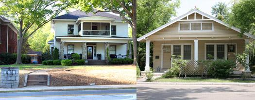 Left: Historic triplex. Right: Bungalow-style duplex.