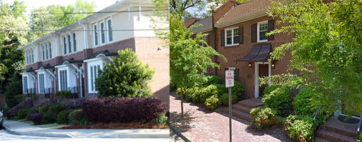Walkable, in-town townhouses are typified by little to no front yard.